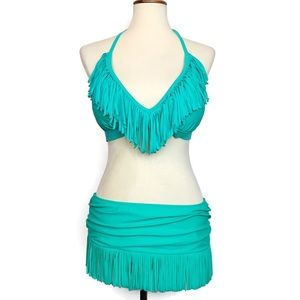 NWT Jessica Simpson fringe bikini top swim skirt